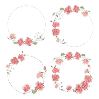 Hand drawn doodle line art pink magnolia flower bloom wreath frame collection