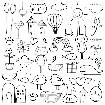 Hand Drawn Doodle Lovely Vector Set For Kid