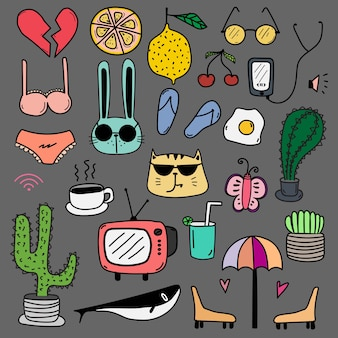 Hand drawn doodle lovely vector set