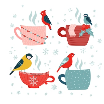 Hand drawn doodle merry christmas cards set. different mugs with birds. blue stars snow flakes on white background.