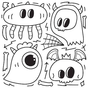 Hand drawn doodle monster cartoon coloring design