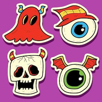 손으로 그린 낙서 괴물 만화 스티커 디자인