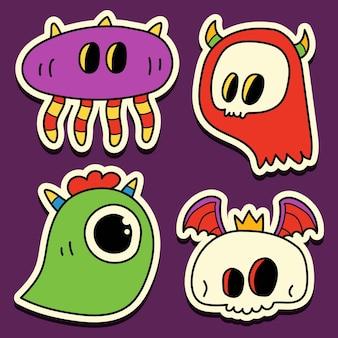 Hand drawn doodle monster cartoon sticker design