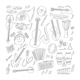 Hand drawn doodle musical instruments