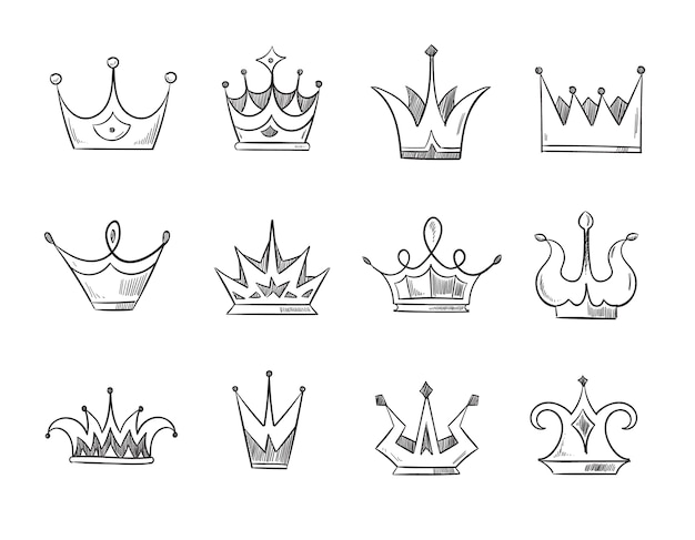 Hand drawn doodle nobility queens crowns . set of line crowns, illustration of crown for prince or monarch
