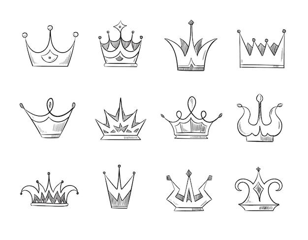 手描き落書き貴族の女王の王冠。ラインクラウンのセット、王子または君主のためのクラウンのイラスト