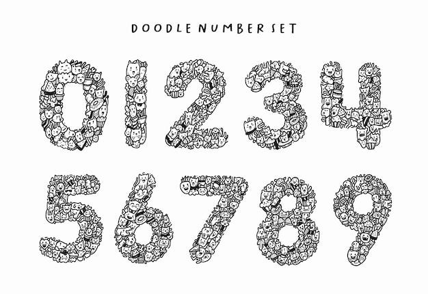 손으로 그린 낙서 숫자 세트