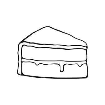 유약 크림 퐁당 벡터 일러스트와 함께 케이크 한 조각의 손으로 그린 낙서