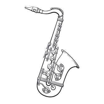 Ручной обращается каракули классической музыки духовой инструмент саксофон векторные иллюстрации