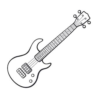 클래식 록 일렉트로 또는 베이스 기타 벡터 일러스트 레이 션의 손으로 그린 낙서