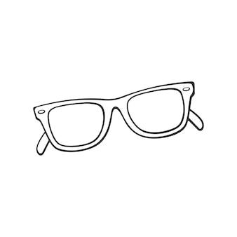 レトロなサングラスの角のあるメガネの手描き落書きベクトルイラスト