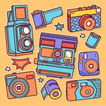 스티커 카메라 아이콘의 손으로 그려진 된 낙서