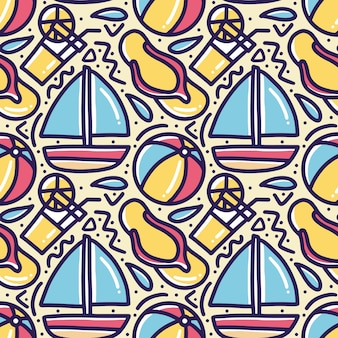 아이콘 및 디자인 요소와 함께 해변에서 손으로 그린 낙서