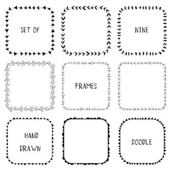 Hand drawn doodle ornamental frames.