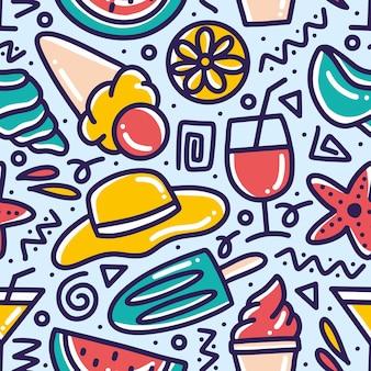 아이콘 및 디자인 요소와 함께 해변에서 손으로 그린 낙서 패턴 메뉴 여름