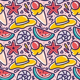 아이콘 및 디자인 요소와 함께 해변에서 세트 메뉴 여름의 손으로 그린 낙서 패턴