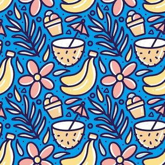 아이콘 및 디자인 요소와 함께 해변에서 설정된 여름의 손으로 그린 낙서 패턴