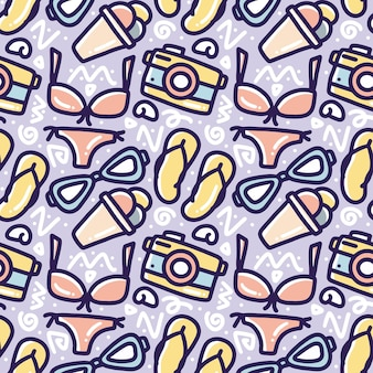 Hand drawn doodle pattern playing summer on the beach with icons and design elements