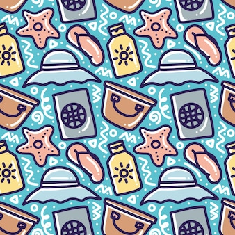 Hand drawn doodle pattern playing summer on the beach with icons and design elements Premium Vector