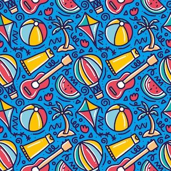손으로 그린 낙서 패턴 아이콘 및 디자인 요소와 함께 해변에서 여름을 재생