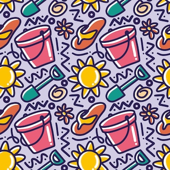Hand drawn doodle pattern of set playing summer on the beach with icons and design elements