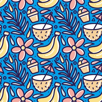 Hand drawn doodle pattern of set summer on the beach with icons and design elements