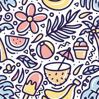 Hand drawn doodle pattern summer on the beach with icons and design elements
