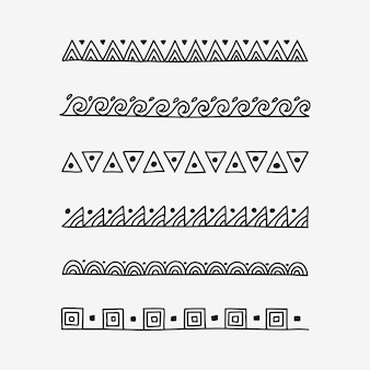 Hand drawn doodle pattern text dividers