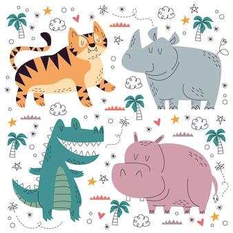 Коллекция рисованной каракули домашних животных