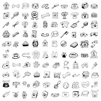 Набор рисованной каракули домашние животные вещи и поставка иконок. векторная иллюстрация. коллекция символов ветеринара. элементы ухода за мультяшными собаками и кошками: будка, поводок, корм, лапа, миска, косточка и другие товары для зоомагазина