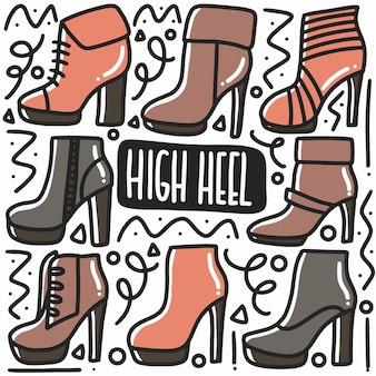 Рисованные каракули сандалии на высоком каблуке красочный арт дизайн элемент иллюстрации