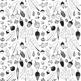 Hand drawn doodle seamless acorn pattern.