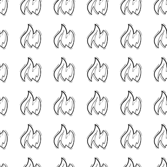 Hand drawn doodle seamless pattern fire icon. black sketch. sign symbol. decoration element. isolated on white background. flat design. vector illustration.