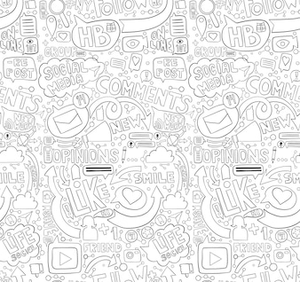 Hand drawn doodle seamless pattern for social media topic.