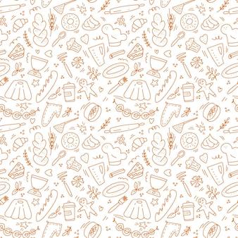 손으로 그린된 낙서 원활한 패턴 흰색 배경에 고립
