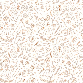 Hand drawn doodle seamless pattern isolated on white background