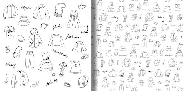 손으로 그린 낙서 세트와 유치한 소녀 옷과 글자가 있는 매끄러운 패턴
