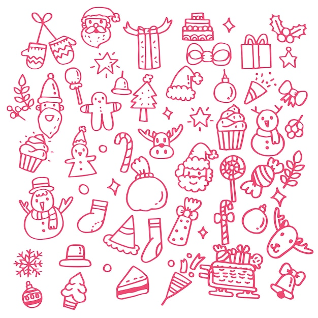 Hand drawn doodle set of christmas objects.
