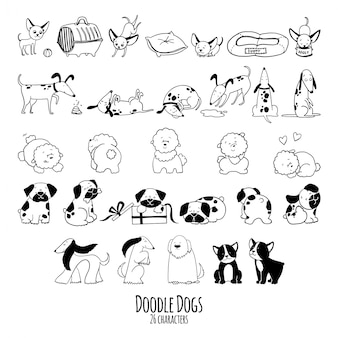 Hand drawn doodle  set of dogs characters in sketch