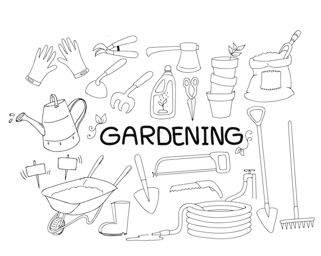 Hand drawn doodle set of gardening tools