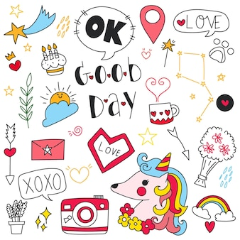 Hand drawn doodle set of objects and symbols of good day, birdsy day and decoration theme.
