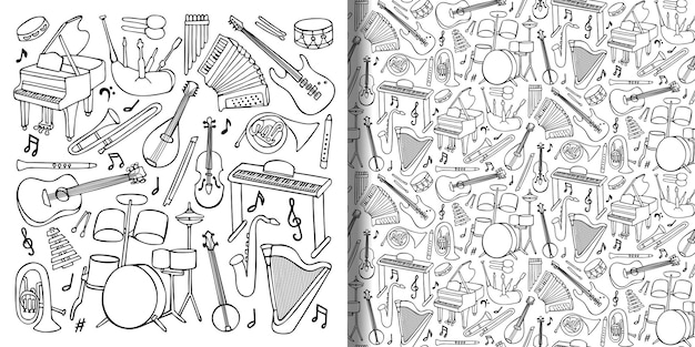 Hand drawn doodle set and seamless pattern with music instruments and objects