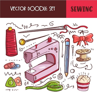 Hand drawn doodle sewing icon set