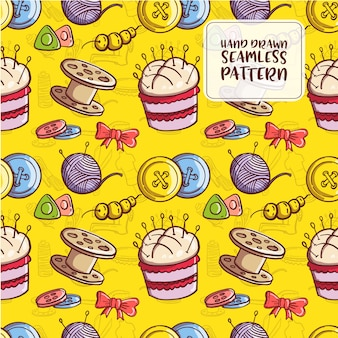 Hand drawn doodle sewing seamless pattern