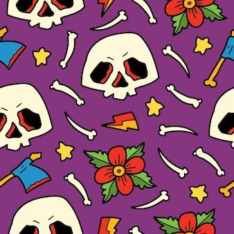 Hand drawn doodle skull cartoon illustration pattern design