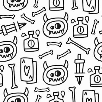 手描き落書き頭蓋骨パターンイラストデザイン