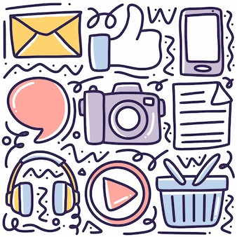 Hand drawn doodle social media with icons and design elements