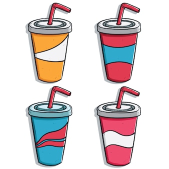 Hand drawn or doodle soda drink cups collection with variant of color