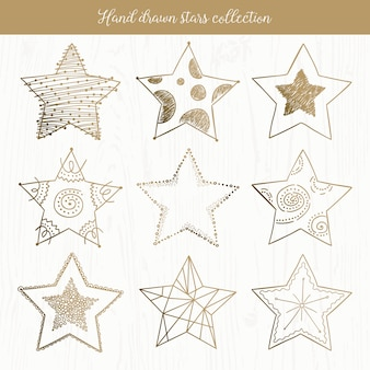 Hand drawn doodle stars collection