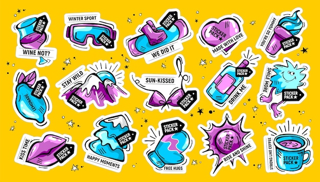 Hand drawn doodle sticker pack with phrases
